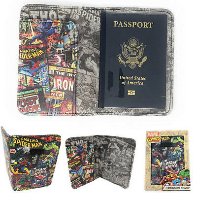 MARVEL Characters Retro Travel Wallet Passport Boarding Pass ID Holder Gift Box