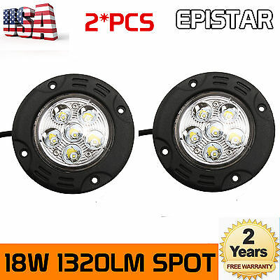 2X 3.5''inch 18W Round LED Work Light Spot Fog Lamp Offroad 4WD SUV Flush Mount