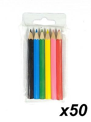50 Packs x 6 Half 1/2 Length Colour / Coloured Pencils Round Grip Art Colouring