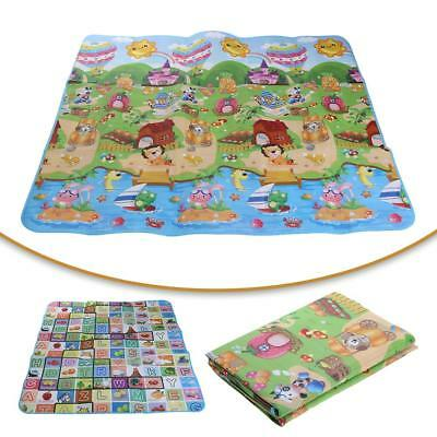 200x180cm Double Sided Pattern Crawling Mat Kids Crawling Educational Game Pad