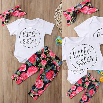 4614c9267 3PCS Little Sister Newborn Baby Girl Romper Floral Pant Headband Outfits  Clothes