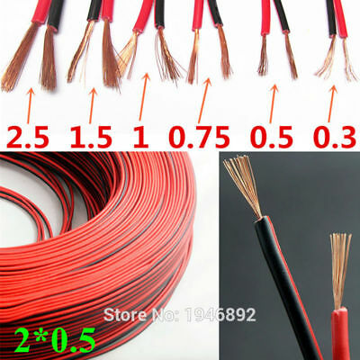 RVB-2*0.5 Square Red with Black color Copper wire Speaker Electronic power Cord