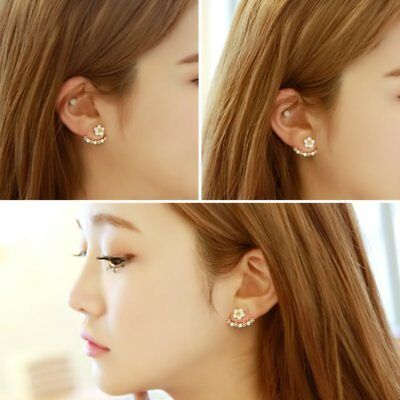 Woman Fashion Crystal Daisy Flower Cute Post-Hanging Earrings Ear Studs Jewelry