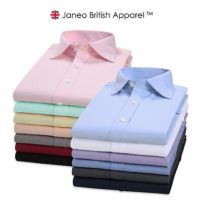 Janeo British Apparel Mens Regular Fit Shirt Classic Plain Single & Double Cuff