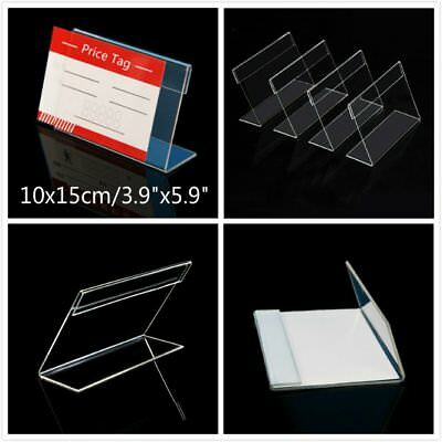 """20x Clear Acrylic Sign Display Card Holder Price Tag Label Stand 3.9""""x5.9"""""""
