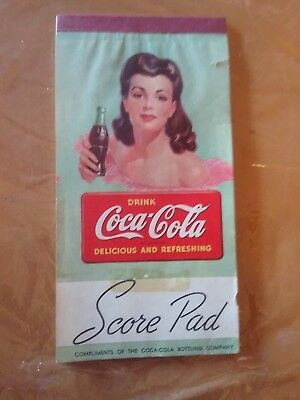 "VINTAGE COCA COLA 1940's ""Bridge Score Pad""...Pretty Girl"