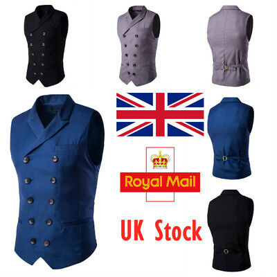 UK Mens Double Breasted Waistcoat Formal Business Wedding Suit Casual Vest Tops
