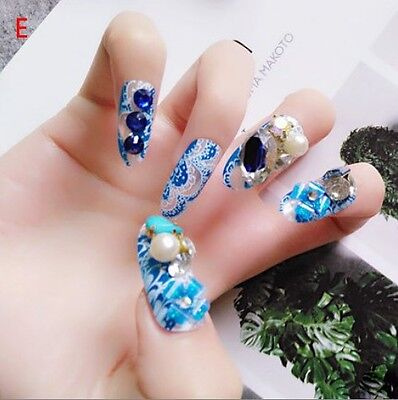 E'24 Pcs  Bling Bling Drill Non-Glue Completed Press-On Nail Tips Fake Nails #
