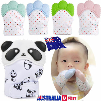 1/2PC Silicone Baby Teether Teething Mitt Mitten Glove Safe BPA Free Chew Toy AU
