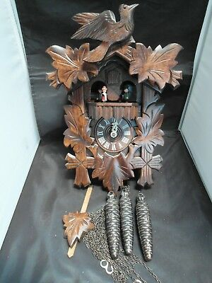 German Black Forest Musical Cuckoo Clock ,3 Weights,With Moving Dancers