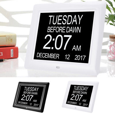 "8"" LED Digital Calendar Day Clock with Large Clear Time Day & Date Display"