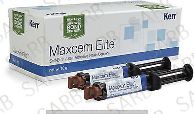 5 X Kerr Maxcem Elite Self-Etch, Self-Adhesive Resin Cement, NOW IN NEW PACK !!!