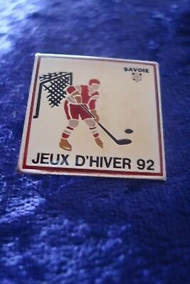 Pin Badge.savoie Jeux D'hiver 1992.ice Hockey.winter Olympics Albertville.rare.