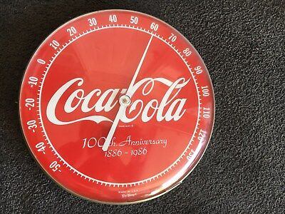 Coca-Cola 100th Anniversary thermometer (1986) - works, exc. condition