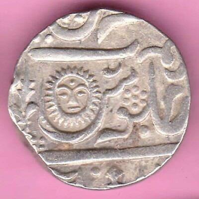Indore State-Ah:1205-Sunface Variety-One Rupee-Rarest Beautiful Silver Coin-28