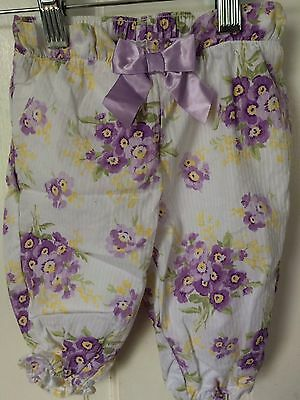 Janie And Jack Girl's 3-6 Months Cotton Stripe Dobby Pansy Pants NWOT