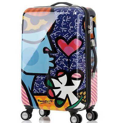 "28"" Fashion Cartoon TSA Lock Universal Wheel Travel Suitcase Luggage Trolley"