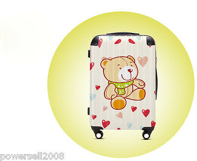 "28"" Lovely Happy Bear Universal Wheel ABS+PC Pull Rod Box Luggage Box #7 LLX"