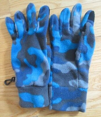 Fleece Gloves Lands End Kids Youth Large Camo Blue/Gray with Clip+Finger Patches