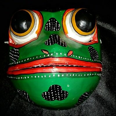 Bali Indonesian Frog Wood Mask Hand Carved And Painted 🐸