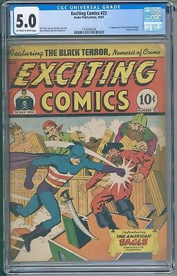 Exciting Comics 22 CGC 5.0 First American Eagle