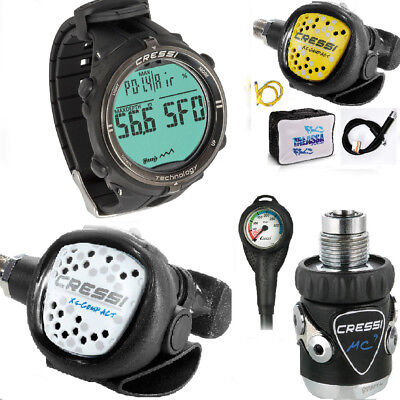 LO3 32B Cressi Regulator MC9 DIN300 compact WHITE + COMPUTER CRESSI NEWTON BLACK