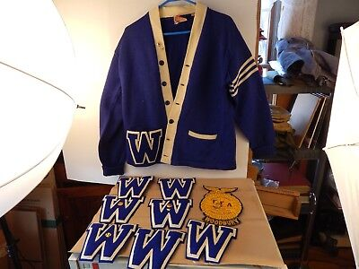 1949 WOODBURY HIGH SCHOOL Ct LETTERMAN SWEATER & Letters LOT Gold pins Named FFA