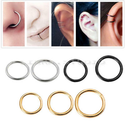Surgical Steel Thin Smal Silverd gold Nose Ring Hoop Cartilage Piercing Stud