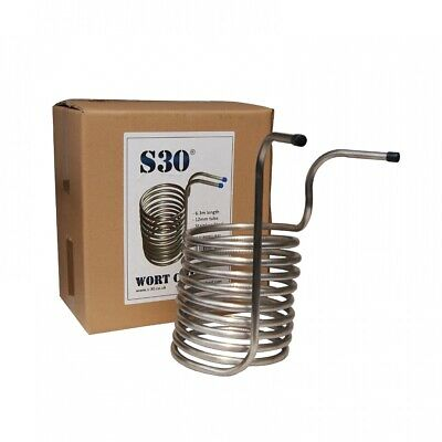 S30 Stainless Steel Spiral Wort Chiller - For Homebrew All Grain Beer