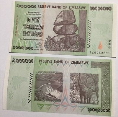 Zimbabwe Fifty (50) Trillion Dollar Crisp Unc Note 2008 Series