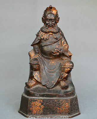 China Tibet Buddhism old Bronze red copper military god of wealth Guan Yu statue