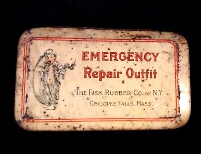 Vintage Fisk Tire Tube Repair Outfit Kit Rare Old Advertising Gas & Oil Tin
