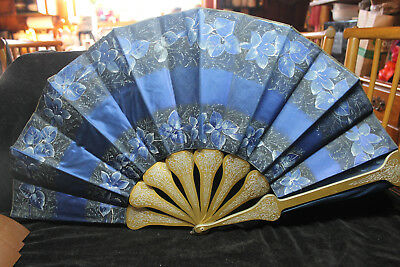 """Antique Large 13"""" Blue Silk & Wood Hand Painted Flower Victorian Fold Out Fan"""