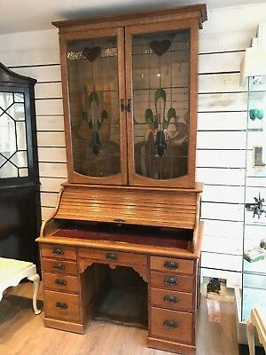 Roll top desk bookcase with art nouveau leaded glass