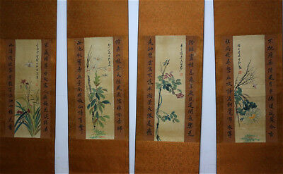 """RARE Chinese 100% Hand Painting 4 Scrolls """"Flowers & Insects"""" By Qi baishi 齐白石 X"""