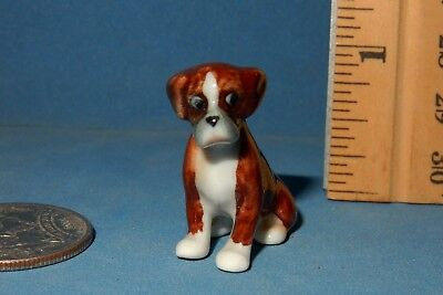 LITTLE CRITTERZ  MINI  BOXER DOG  CERAMIC  FIGURINE   doll house size
