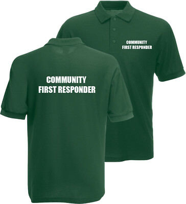 Community First Responder printed green polo shirt work wear