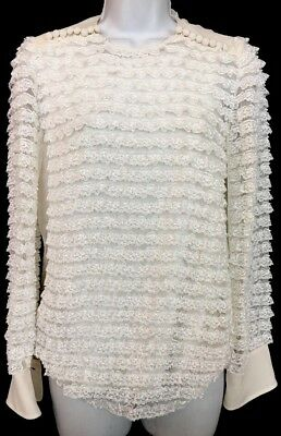 Chloe Blouse Confident White Silk  Lace Layers Long Sleeve  Size 36 NWT $1650