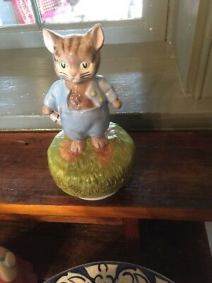 Vintage 1977 Schmid Beatrix Potter's Music Box TOM KITTEN  Happy Wanderer 6 3/4""