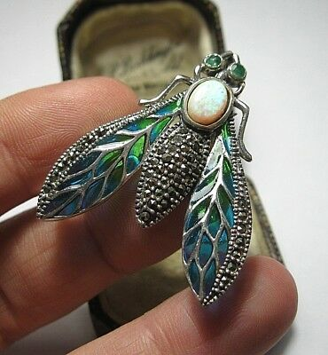 925 Sterling Silver Plique A Jour Enamel Emerald Marcasite Fly Insect Brooch Pin