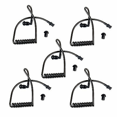 5X Replacement Black Coil Acoustic Air Tube+Earplug for Radio Earpiece Headset Y