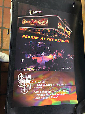 "ALLMAN BROS PEAKIN AT THE BEACON 2000 2 sided promo poster  12"" x 18"" NEW NM"