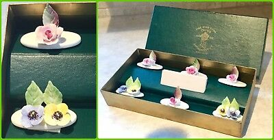 Crown Staffordshire Fine Bone China Place Card Holders Floral Rose Set Of 6