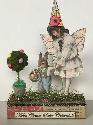 altered art fairy miniature paper pixie SPRING vtg look easter bunny mixed media