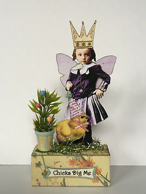 altered art fairy miniature paper pixie EASTER chick mixed media vtg look