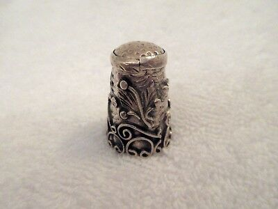 19thc Victorian Era Sterling Silver Sewing Thimble Ornate Leaf Vine Design