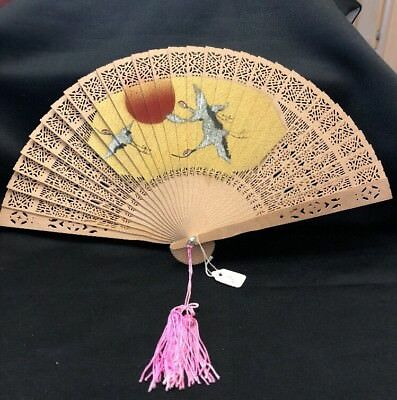 Vintage Hand Painted Japanese Wooden Hand Fan Japan Exquisite Ladies Hand Fan
