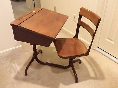 Vintage Wooden Children's School Desk with Attached Swivel Chair