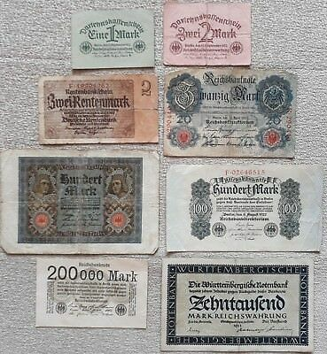banknote lot 4 - Weimar Germany mark - year 1904 -1937 - hyperinflation - 8 note