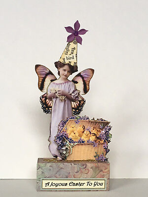 altered art fairy miniature paper pixie EASTER mixed media vtg look chicks